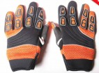 Gants de cross enfant nylon Noir et Orange