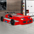 Lit voiture de course double couchage Racing rouge