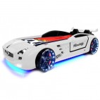 Lit voiture Roadster blanc à Led
