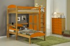 Ensemble lit mezzanine en L + Placard + Commode Pin Miel et Orange Aladin