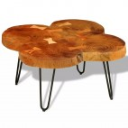 Table basse bois massif finition cirée 4 troncs Will