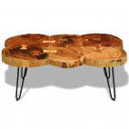 Table basse bois massif finition cirée 6 troncs Will