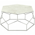 Table basse hexagonale marbre blanc et pieds nickel Raleh