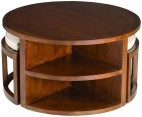Table basse ronde colonial 2 tabourets avec coussins mindi massif Amina
