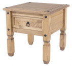 Table d'appoint 1 tiroir pin massif clair Divina