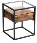 Table d'appoint design industriel verre et bois marron vintage Kaza 43 cm