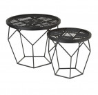 Table d'appoint gigogne métal noir Narsh - Lot de 2