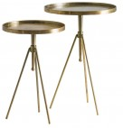 Table d'appoint ronde art déco métal doré Sadok - Lot de 2