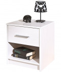 Table de chevet 1 tiroir 1 niche pin massif blanc York