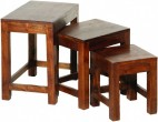Table gigogne acacia massif colonial Nel - Lot de 3