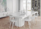 Table rectangulaire design bois blanc brillant Dusk 262 cm