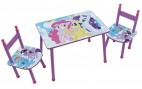 Table rectangulaire et 2 chaises My Little Pony