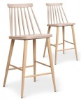 Chaise de bar scandinave beige Nordi - Lot de 2