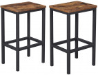 Tabouret haut de bar marron vintage style industriel Kaza - Lot de 2