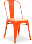 Chaise métal orange assise bois clair Industriel
