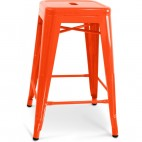 Tabouret métal orange brillant H 60 Industriel