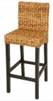 Tabouret de bar abaca naturel et manguier massif - Lot de 2