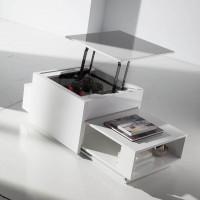 table basse relevable laqu e cr me optima. Black Bedroom Furniture Sets. Home Design Ideas