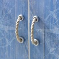 Armoire 3 portes avec porte miroir Blanc et Bleu Marin Modéle L ...