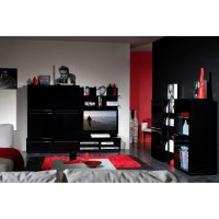 banc tv laqu noir black. Black Bedroom Furniture Sets. Home Design Ideas