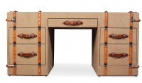 Bureau bois et toile beige William Lord - Photo 2