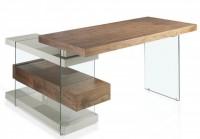 bureau d 39 angle comtemporain bois noyer et verre moza. Black Bedroom Furniture Sets. Home Design Ideas