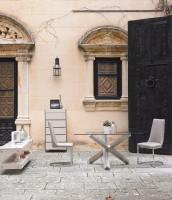 chaise design simili taupe et acier inoxydable arka. Black Bedroom Furniture Sets. Home Design Ideas