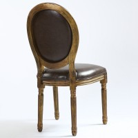 Chaise m daillon louis xvi simili marron bois patin or for Chaise medaillon cuir