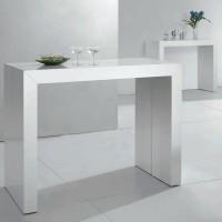 Table console extensible laqu e blanc 50 250 cm 12 personnes lestendanc - Console extensible 250 cm ...