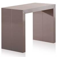 table console extensible laqu e taupe 50 200 cm 10 personnes. Black Bedroom Furniture Sets. Home Design Ideas