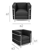 fauteuil cuir camel inspir lc2 le corbusier. Black Bedroom Furniture Sets. Home Design Ideas