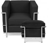 fauteuil style lc2 avec son ottoman cuir ivoir. Black Bedroom Furniture Sets. Home Design Ideas