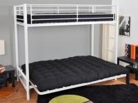 Lit mezzanine argent 90 avec banquette futon clic clac - Lit mezzanine modulo ...