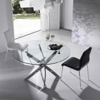 table ronde acier inoxydable et verre tremp gala dimensions d 110 x h 76 cm. Black Bedroom Furniture Sets. Home Design Ideas