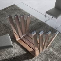 table rectangulaire contemporaine bois noyer et verre trya dimensions l 180 x p 95 x h 76 cm. Black Bedroom Furniture Sets. Home Design Ideas