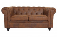 Canapé chesterfield 2 places tissu marron vintage Itish