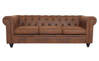 Canapé chesterfield 3 places tissu marron vintage Itish