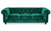 Canapé chesterfield 3 places velours vert Itish