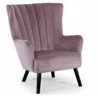 Fauteuil chic velours rose Kamps
