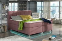 Lit boxspring 140x200 cm tissu rose clair Balfor