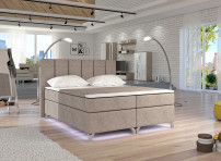 Lit boxspring 140x200 cm tissu taupe Balfor