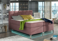 Lit boxspring 160x200 cm tissu rose clair Balfor