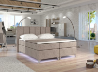 Lit boxspring 180x200 cm tissu taupe Balfor