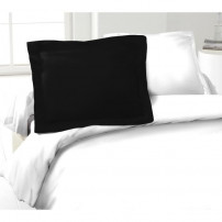 LOVELY HOME Lot de 2 Taies d'Oreillers 100% coton 50x70 cm - Noir