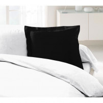 LOVELY HOME Lot de 2 Taies d'Oreillers 100% coton 63x63 cm - Noir