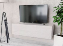 Meuble TV suspendu 2 compartiments laqué blanc Chickie L 120 x H 34 x P 40 cm