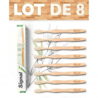 SIGNAL Lot de 8 Brosses a dents Manuelle en Bambou 100% Naturel souple