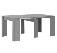 Table à manger rectangulaire extensible gris brillant Lamio