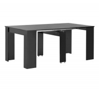 Table à manger rectangulaire extensible noir brillant Lamio