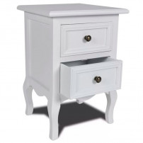 Table de chevet 2 tiroirs pin massif blanc Oleen